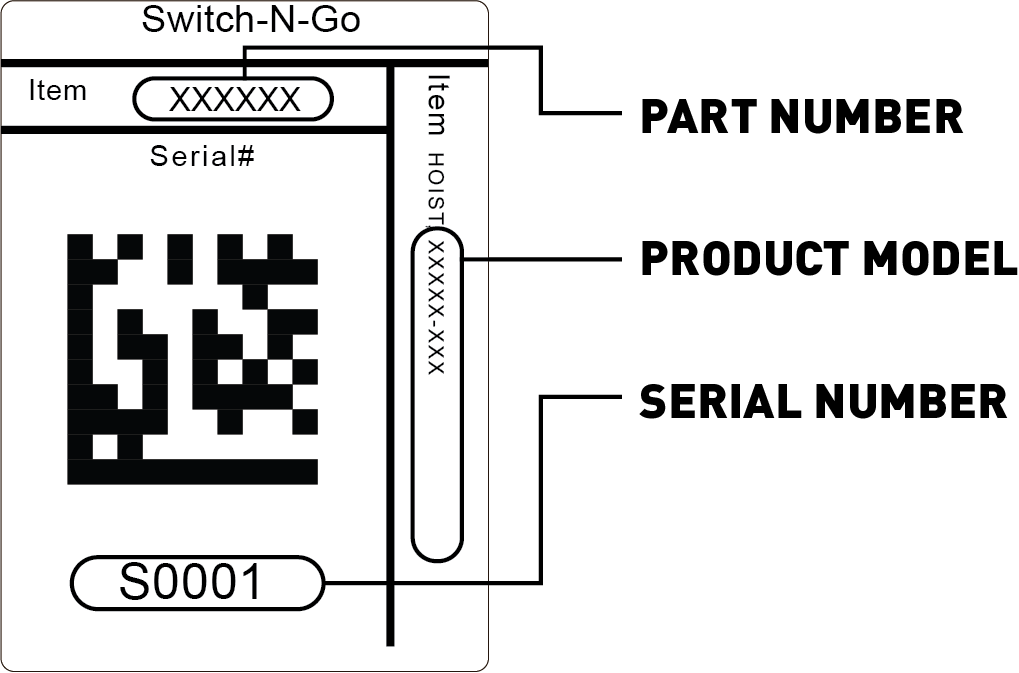 Switch-N-Go Hoist System Identification Tag